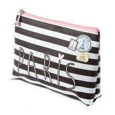 Destination Paris Striped Cosmetic Bag   Claire's