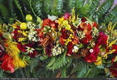 STOCK IMAGE - Hawaii, haku lei, variety of flowers, plants, fern by www.DIOMEDIA.com