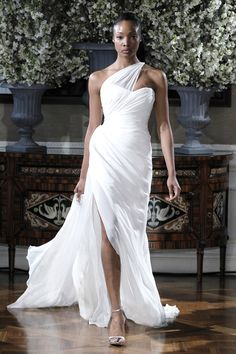 One shoulder greek wedding dress