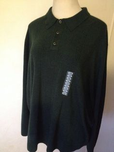 NWT DOCKERS Men's Forest Green Pullover Polo Collar Long Sleeve Thin Sweater 4XL #DOCKERS #Polo #4XL #4X #MensSweater