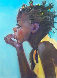 """Cielo Azul"" Kim Roberti's 6x8 Oil/Gessobord contemporary realism Figure Portrait of a Child., painting by artist Kim Roberti"