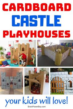 You can make these amazing castles out of cardboard! They are easy to make and your kids will love them. Click or tap to decide which one you should make. Big Cardboard Boxes, Cardboard Box Crafts, Cardboard Playhouse, Cardboard Castle, Cardboard Toys, Cardboard Furniture, Activities For Boys, Fun Crafts For Kids, Preschool Ideas