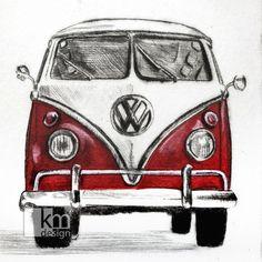 Red Volkswagon Camper Van