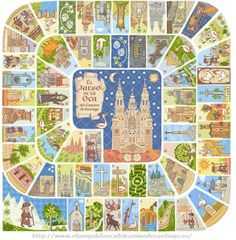 "You might be (or not be) familiar with ""The game of the Goose"". It is a well-known game among people in Europe, and it has been played for Centuries. The game, consists of a board. Saint James, Serpieri, Spain Culture, File Folder Activities, Board Game Design, The Camino, Travel Illustration, Stars At Night, Travel Maps"