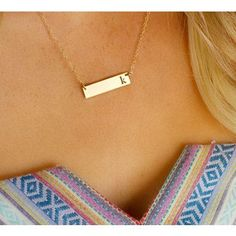 Thin pierced initial bar necklace by GemmaCollection on Etsy