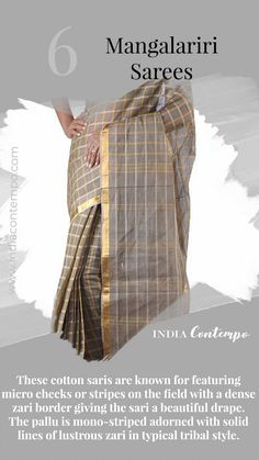 These cotton saris are known for featuring micro checks or stripes on the field with a dense zari border giving the sari a beautiful drape. The pallu is mono-striped adorned with solid lines of lustrous zari in typical tribal style. Banaras Sarees, Khadi Saree, Sari, Indian Textiles, Indian Fabric, Tribal Fashion, India Fashion, Indian Culture And Tradition, Fashion Terminology