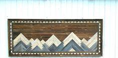 Past Reclaimed Wood Wall Art Mountain Range King Headboard Large Natural Wood Rustic Art Geometric Mosaic Art by PastReclaimed on Etsy Large Wood Wall Art, Reclaimed Wood Wall Art, Reclaimed Wood Furniture, Coastal Wall Decor, Seaside Decor, Wood Wall Decor, Rustic Art, Rustic Decor, Twig Art