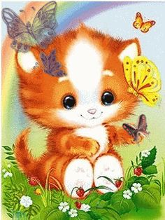 Dibujos animados con gatitos tiernos.