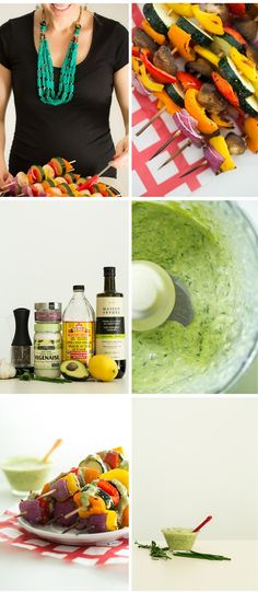Vegan Green Goddess Dressing with Grilled Veggie Kabobs — Vegan, gluten-free, nut-free, grain-free. By Oh She Glows.