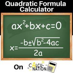 Free Online Educational Calculator for Quadratic Formula