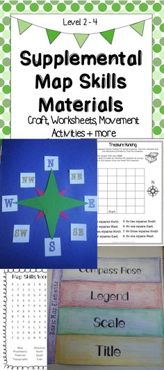 This product contains a variety of materials to supplement your student's understanding of map skills. Topics include cardinal and intermediate directions and the four basic map elements (title, scale, compass rose, and legend).   There are a variety of types of worksheets and activities to support student review and learning.