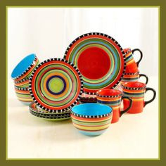 Gibson Pueblo Springs 16 Piece Dinnerware, Ceramic Stoneware Set Service for Hand painted ---beautiful set!