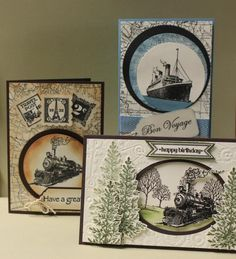 Stamps from Stampin' Up! Traveler, World Map Lovely as a tree, Card with trees was cased from Ann Schach by lorie Masculine Birthday Cards, Birthday Cards For Men, Masculine Cards, Male Birthday, Boy Cards, Cute Cards, Men's Cards, Stampin Up Karten, Nautical Cards