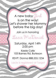 Custom Digital Baby Shower Invitation Boy or Girl YOU PRINT zebra pink grey black Invite Printable Wedding Bridal. $12.00, via Etsy.