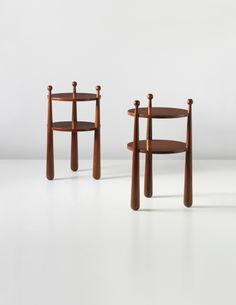 PHILLIPS : UK050213, Jean Royère, Pair of very rare 'Quille' bedside tables, commissioned by Mr and Mrs Balsan, Paris