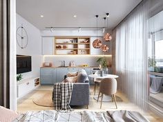 3 Small But Super Stylish Apartments Inspiration for creating small stylish interiors: This set of three small apartment schemes features dramatic modern lighting schemes & colourful accents.