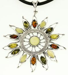 Tri-color Silver and Amber Sun Pendant Necklace. More Amber Jewelry at http://www.virtualsokoni.com