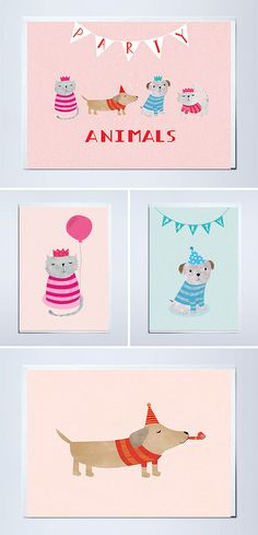 Party Pets Birthday Cards | Plainly Patterned via paper crave