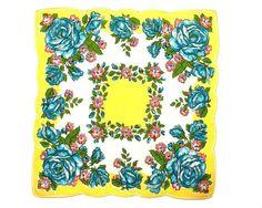 RETRO HANKIE, Mid-Century, Deep Aqua Roses, Yellow Center, White Inner Border, Scalloped Edge, Hand Rolled Hem, Excellent Condition via Etsy