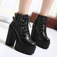 28.88$  Buy here - https://alitems.com/g/1e8d114494b01f4c715516525dc3e8/?i=5&ulp=https%3A%2F%2Fwww.aliexpress.com%2Fitem%2FHot-Sale-Russian-Shoes-Black-Platform-Martin-Boots-Women-With-Zip-High-Heels-Shoes-Lace-Up%2F32452329480.html - Gdgydh Hot Sale Russian Shoes Black Platform Martin Boots Women Zipper Spring High Heels Shoes Lace Up Ankle Boots Size 35-39
