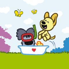 Woezel en Pip in bad. Line Sticker, Cartoon Kids, Dogs And Puppies, Summertime, Pikachu, Snoopy, Vans, Stickers, Drawing