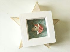 Hand cast and hand-painted unicorn in mini shadow box frame www.vivilake.com