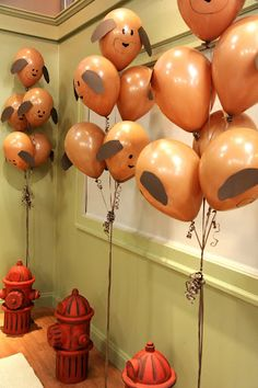 Puppy Balloons - switch the color to red and these could be an adorable idea for a Clifford birthday party!