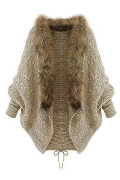 ROMWE | Fuax Fur Embellished Apricot Cardigan, The Latest Street Fashion