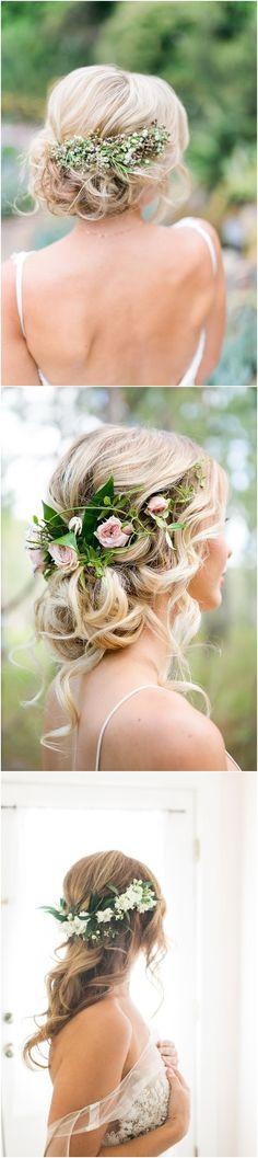 Greenery wedding hairstyles and wedding updos with green flowers / #wedding #weddingideas #weddinginspiration #deerpearlflowers