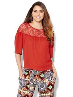 Shop Lace-Panel Peasant Blouse . Find your perfect size online at the best price…