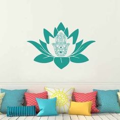 Indian Buddha Fatima Lotus Flower Hand Eye Wall Decal Hamsa Yoga Ganesh Vinyl Wall Art Living Room Decor (Navy blue,m)