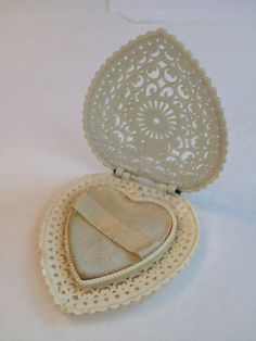 Vintage Ring Box / Celluloid Ring Box / Antique Jewelry Display / Antique Ring Box / Ring Holder / Wedding / Bridal / Ornate Filigree Heart on Etsy, $24.00