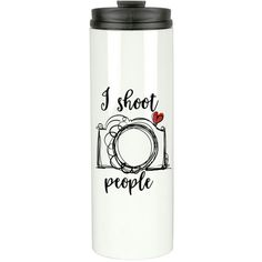 Stainless Steel Coffee Tumbler Photographer Travel Mug Coffee Tumbler... ($18) ❤ liked on Polyvore featuring home, kitchen & dining, drinkware, drink & barware, home & living, mugs, silver, personalized coffee travel mugs, personalized coffee mugs and travel coffee mugs