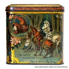 "Alice Through the Looking-Glass biscuit tin, panel 2:  ""The Red King Asleep"", ""The Battle Between The Red And White Knights"""