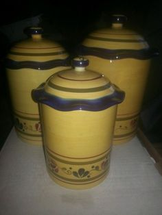 Set Of 3 Ceramic Kitchen Canister Set, With Rubber Seal, Yellow And Blue #