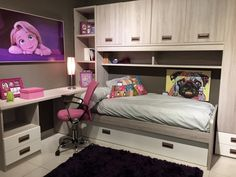 Dormitorio juvenil chica, en Merkamueble Vigo Kids Room Furniture, Bedroom Furniture Design, Interior Design Living Room, Bedroom Decor, Modern Kids Bedroom, Girls Bedroom, Shared Bedrooms, Kids Room Design, Girl Room