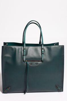 Green Balenciaga Paper A4 Bag