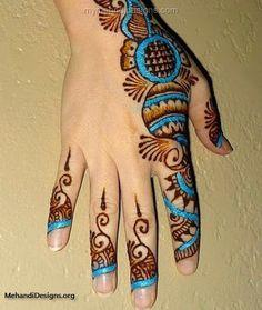 Gorgeous blue color mehndi hand design