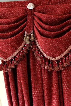 Austrian Diamond Swags and Valances Curtains - red chenille http://www.celuce.com/p/222/austrian-diamond-swags-and-valances-curtains-red-chenille