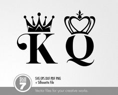 King & Queen logos – svg cutting file – eps dxf pdf png + silhouette file – Are Jay – Join in the world of pin Queen Crown Tattoo, King Queen Tattoo, Queen Of Hearts Tattoo, Crown Drawing, Queen Drawing, King And Queen Crowns, Crown Tattoo Design, Silhouette, Creative Words