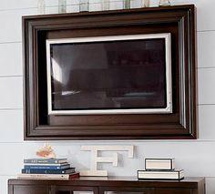 Custom Framing Flat Screen TV's dark paint & dark frame but leave open for ventilation