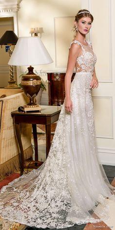 naama and anat fall 2018 bridal cap sleeves sweetheart neckline full embellishment elegant a line wedding dress low open back sweep train (5) sdv -- Naama