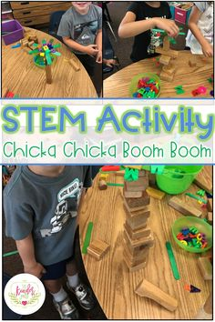 STEM lessons and activities for the book Chicka Chicka Boom Boom! Kindergarten Stem, Preschool Books, Preschool Classroom, Primary Classroom, Preschool Ideas, Teaching Ideas, Classroom Ideas, Abc Activities, Steam Activities