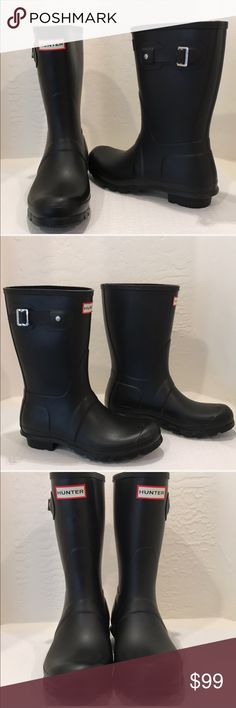 "Hunter Original Short Rain Boots ☔️🌧 Comfort and quality combine in a watertight boot, finished with a ground-gripping sole. A subtle tonal design circles the top, while an adjustable buckle at the side adds interest.☔️ 1"" heel (size 8 10"" boot shaft; 15"" calf circumference. Approx  Pull-on style. In hot or humid weather, natural latex rubber releases a protective wax film; simply wipe it off with a damp cloth. Rubber upper/textile lining/rubber sole. By Hunter;  Black Matte Worn once in…"