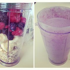 2 bananas  Oatmeal (your fav)  Mixed berries  Almond milk   Blend it all and enjoy a healthy quick on the go breaky!!