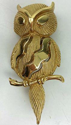 Vintage Crown Trifari Owl Brooch Circa 50s 60s Gold by CurioBoxx