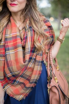 @brightonkeller // BrightonTheDay Blog // plaid blanket scarf // blanket scarf outfit // swing dress outfit // casual outfit for fall