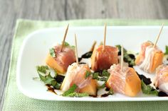 Prosciutto-wrapped cantelope with Balsamic-reduction Glaze