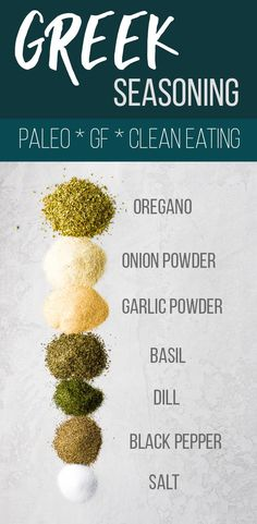 Easy Greek seasoning blend is made with simple pantry staples and is perfect for sprinkling on fish, chicken, and veggies! Prepare a big batch to save money and avoid unhealthy chemicals or additives Clean Eating Vegetarian, Clean Eating Recipes, Cooking Recipes, Eating Vegan, Healthy Eating, Healthy Food, Sauce Recipes, Vegetarian Recipes, Homemade Spices