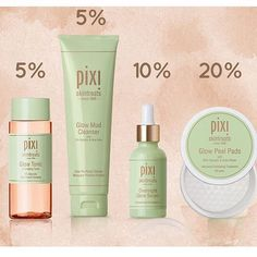 Regram from @pixibeauty ! Good to know how much glycolic acid is in each product - I SWEAR by the Glow tonic for daily use and the Peel pads for 3 times a week